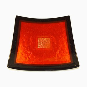 Centro de mesa Campielo Q25 de cristal de Murano en negro y rojo de Stefano Birello para VeVe Glass, 2019