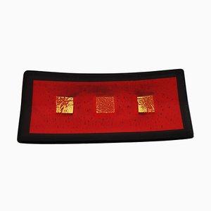Centro de mesa Campielo R30 de cristal de Murano en rojo y negro de Stefano Birello para VeVe Glass, 2019