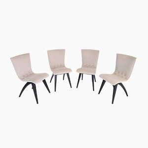Mid-Century Beech & Lacquer Dining Chairs, 1950s, Set of 4