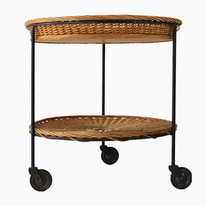 Mid-Century Rattan and Steel Trolley, 1960s