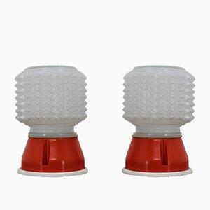 Lámparas de mesa de vidrio, años 70. Juego de 2