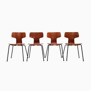 Sillas de comedor 3103 Hammer danesas vintage de teca de Arne Jacobsen para Fritz Hansen. Juego de 4