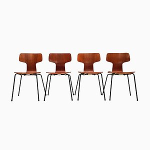 Vintage Danish Teak 3103 Hammer Dining Chairs by Arne Jacobsen for Fritz Hansen, Set of 4