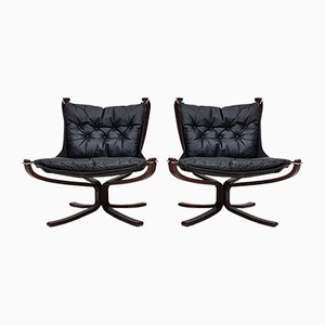 Leather Falcon Lounge Chairs by Sigurd Ressell for Vatne Møbler, 1970s, Set of 2