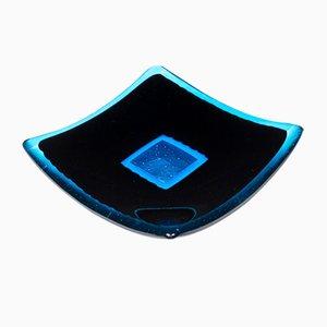 Piatto Luce Q20 in vetro di Murano nero e acquamarina di Stefano Birello per VeVe Glass, 2019