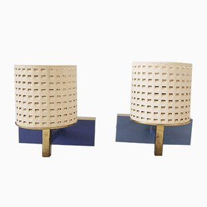 Perforated Sheet Metal & Brass Wall Lights, 1950s, Set of 2