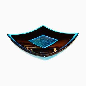 Centrotavola Luce Q25 in vetro di Murano nero e color acquamarina di Stefano Birello per VeVe Glass, 2019