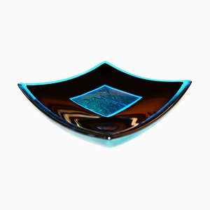 Luce Q25 Black and Aquamarine Murano Glass Centerpiece by Stefano Birello for VeVe Glass, 2019