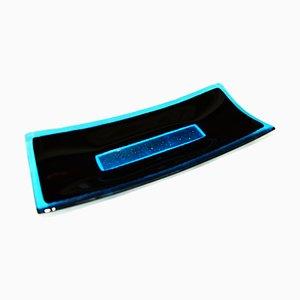 Centro de mesa Luce R30 de cristal de Murano en negro y aguamarina de Stefano Birello para VeVe Glass, 2019