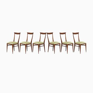 Italian Walnut & Green Velvet Dining Chairs by Melchiorre Bega, 1950s, Set of 6