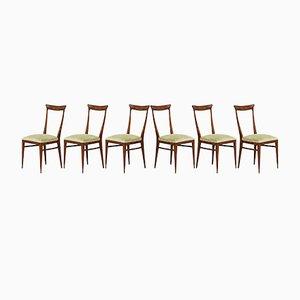 Italienische Esszimmerstühle mit Gestell aus Nussholz & grünem Samtbezug von Melchiorre Bega, 1950er, 6er Set