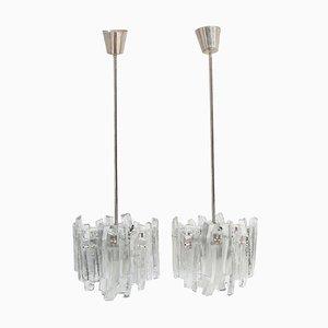 Fuente Deckenlampen aus Eisglas von Kalmar Franken KG, 1970er, 2er Set