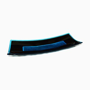 Centrotavola Luce R50 in vetro di Murano nero e color acquamarina di Stefano Birello per VeVe Glass, 2019