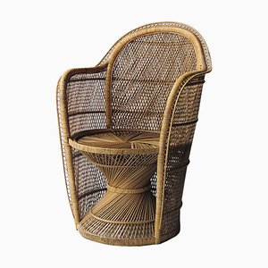 Armchair French Wicker Peacock Chair, 1970s