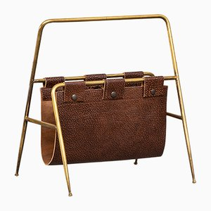 Italian Brass & Leather 13007 Magazine Rack by Angelo Lelli for Arredoluce, 1949