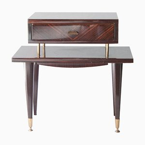 Mid-Century Brown Ebony Wood & Brass Bedside Table, 1950s