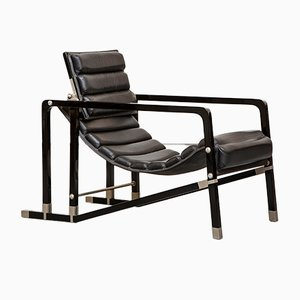 Leather and Metal Transat Lounge Chair by Eileen Gray, 1970s