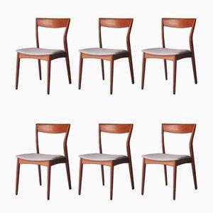 Moderne schwedische Mid-Century Esszimmerstühle aus Teak, 1960er, 6er Set