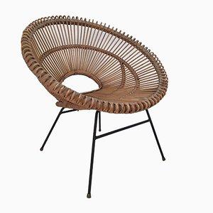 Mid-Century Italian Iron & Wicker Lounge Chair, 1960s