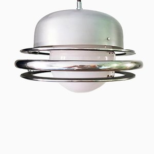 Industrial Aluminum and Iron Ceiling Lamp, 1950s