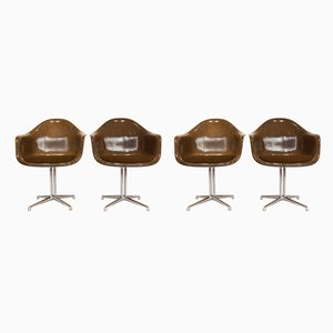 La Fonda Chrome & Fiberglass Armchairs by Charles & Ray Eames, 1970s, Set of 4