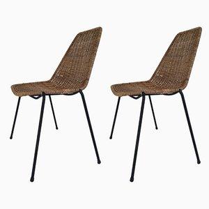 Italienische Beistellstühle aus Eisen & Korbgeflecht von Campo e Graffi für Home Torino, 1950er, 2er Set