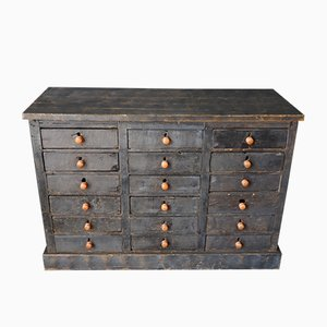 Commode d'Apothicaire Industrielle Antique en Pin