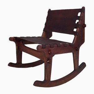 Leather & Walnut Rocking Chair by Angel I. Pazmino for Muebles de Estilo, 1960s