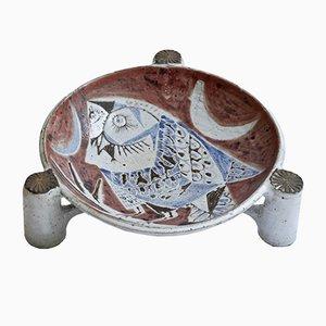 Plato trípode Mid-Century de cerámica de Jean Derval