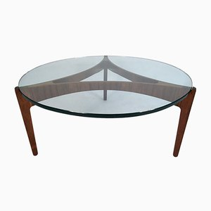 Danish Glass & Rosewood Coffee Table by Sven Ellekaer for Christian Linneberg, 1960s
