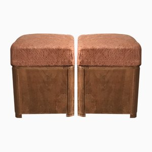 Art Deco Wooden Ottoman Stools, 1930s, Set of 2