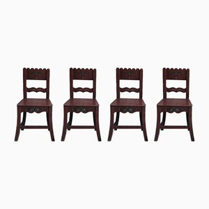 Antique Painted Wooden Dining Chairs, Set of 4