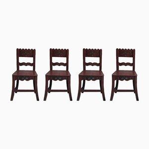 Sedie da pranzo antiche in legno verniciato, set di 4