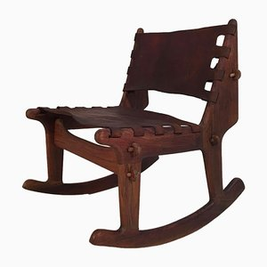 Leather and Walnut Rocking Chair by Angel I. Pazmino for Muebles de Estilo, 1960s