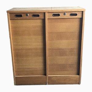 Mid-Century Industrial Oak Cabinet, 1950s