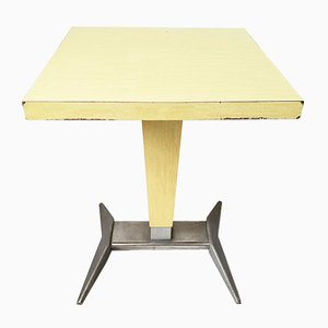 Mid-Century French Aluminum and Formica Bistro Table, 1950s