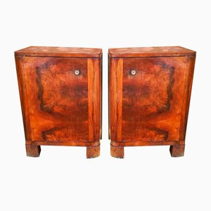 Vintage Art Deco Veneer Cabinets, 1930s, Set of 2