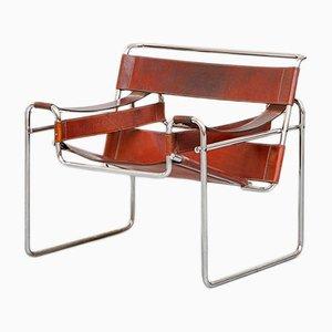Silla Wassily de cuero y metal de Marcel Breuer para Knoll International, 1968