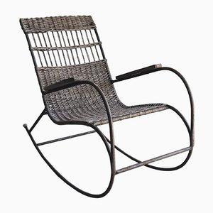 Rocking Chair Mid-Century en Bois Courbé, Acier et Rotin, 1960s