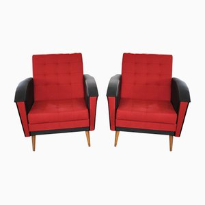 Vintage Red & Black Lounge Chairs, 1960s, Set of 2