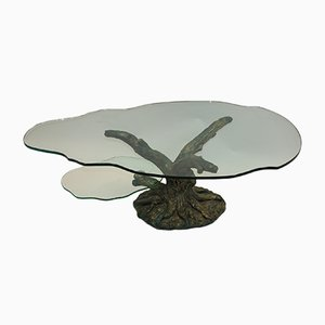 Vintage Bronze and Cut Glass 2-Tier Coffee Table, 1970s