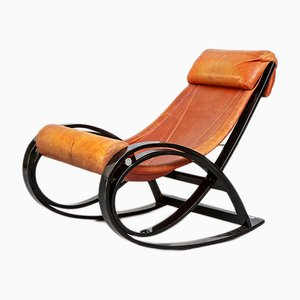 Leather & Palisander Sgarsul Rocking Chair by Gae Aulenti for Poltronova, 1962