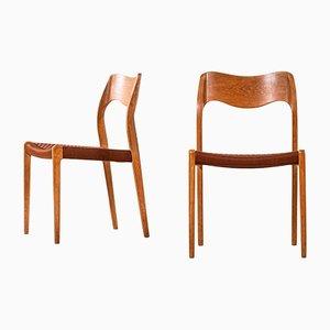 Model 71 Dining Chairs by Niels O. Møller for J.L Møllers, 1950s, Set of 6