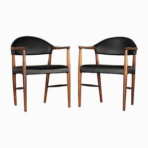 Dänische Armlehnstühle aus Leder & Palisander von Kurt Olsen für Slagelse Møbelværk, 1958, 2er Set