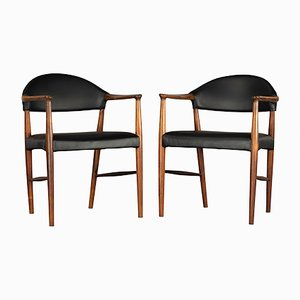 Danish Leather & Rosewood Armchairs by Kurt Olsen for Slagelse Møbelværk, 1958, Set of 2