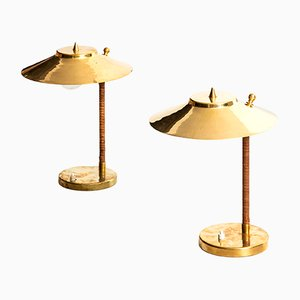 Lampes de Bureau en Laiton et Jonc par Paavo Tynell pour Idman, 1950s, Set de 2
