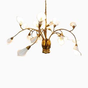Lámpara de araña italiana de latón y metal de Angelo Lelli, años 50