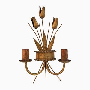 Mid-Century Gold Leaf and Wrought Iron Sconce, 1960s