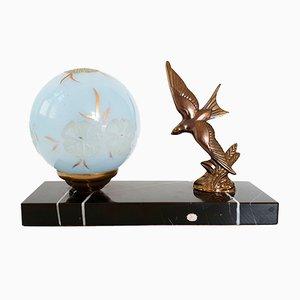 Lámpara de mesa francesa Art Déco de bronce y mármol, años 30