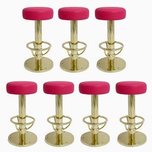 Mid-Century Polished Brass & Pink Skai Stools, 1960s, Set of 7